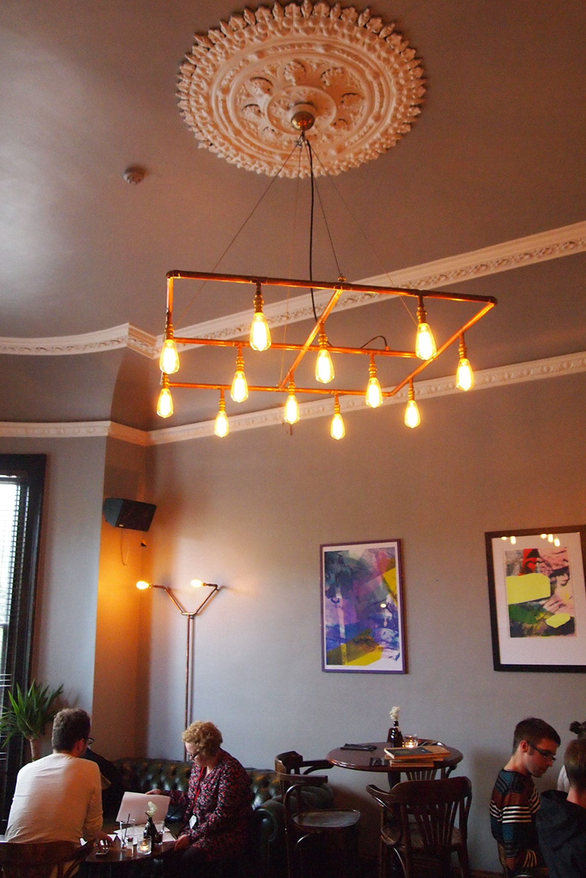 Faversham Grey Room Interior Copper Chandelier