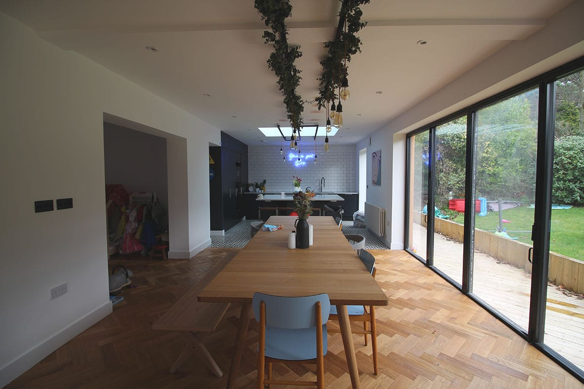 Heswall House Architectural Emporium dining area with large rear opening