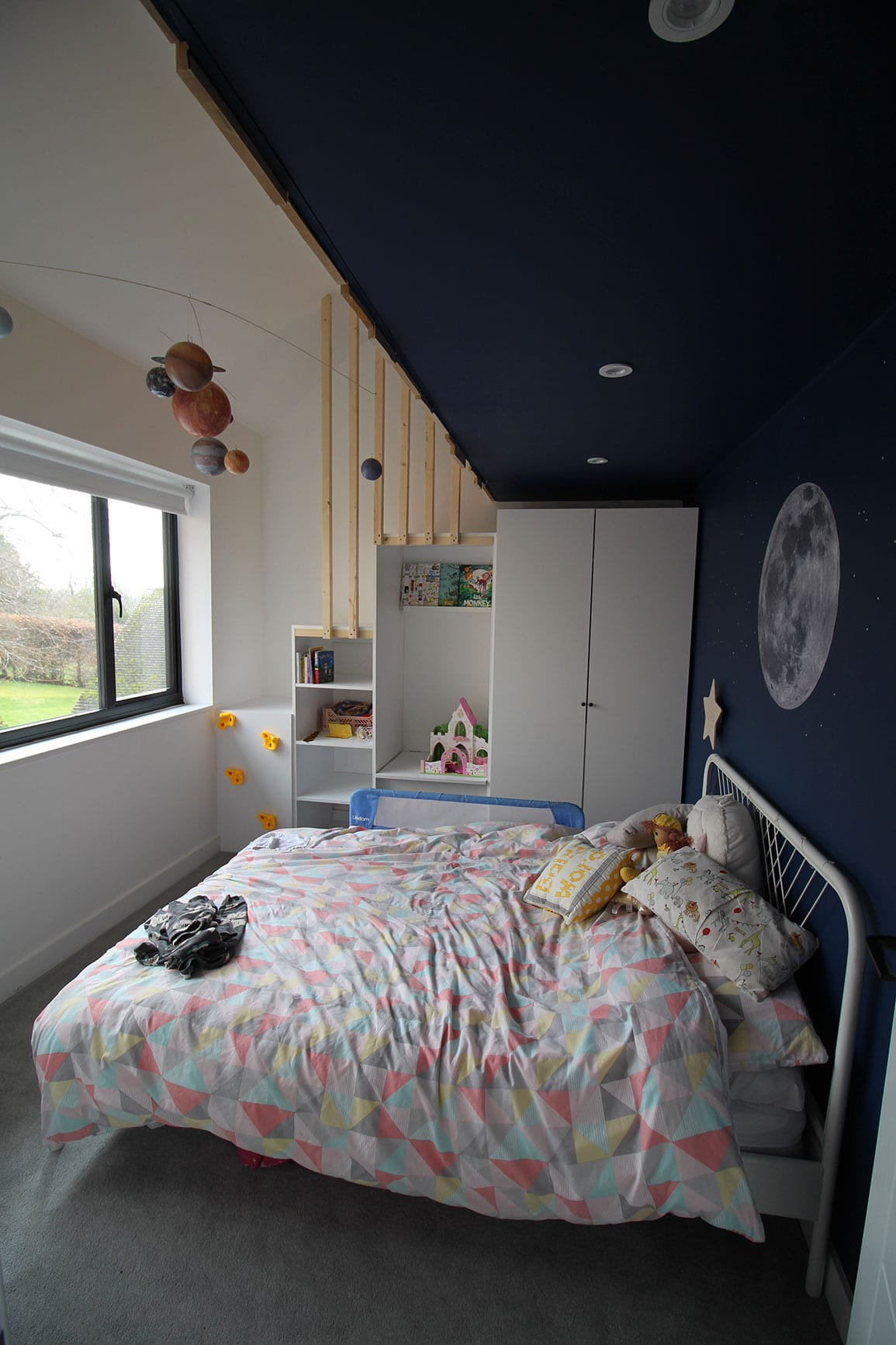 Heswall House Architectural Emporium childrens bedroom with access to mezzanine den