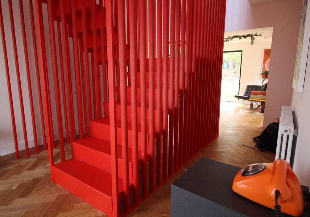 Heswall House Architectural Emporium Red Steel Staircase